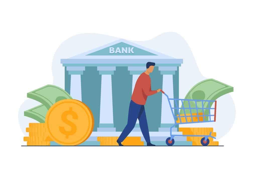 Far Rainbow Bank customer getting loan illustration